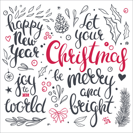 overlays: Set of Christmas clip art and overlays. Vector floral elements, mistletoe, holly leaves, pine cone, berries and hand drawn holiday lettering isolated on white. Illustration