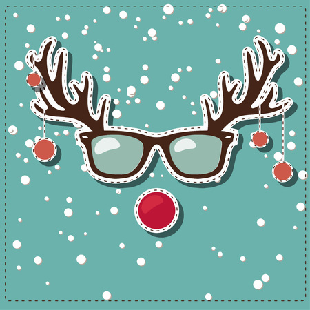 Christmas card with Rudolf the red nose Illustration