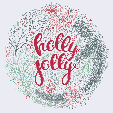 Vintage Christmas card with hand drawn lettering and floral ornaments. Vector card with Christmas greetings. Illustration