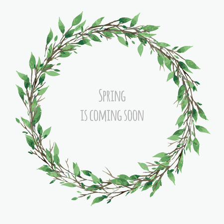coronal: cute spring wreath with green leaves, vector watercolor floral illustration, spring design
