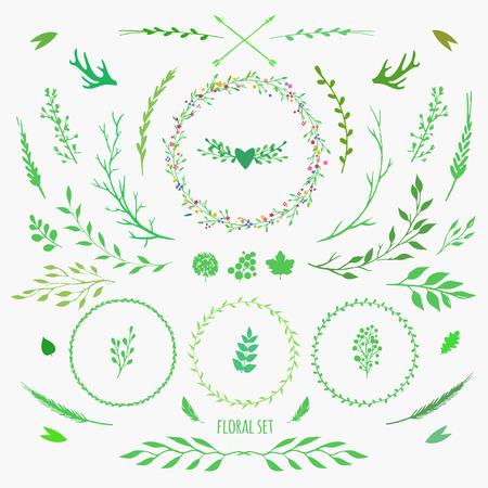 ensemble d'éléments floraux décoratifs pour la conception de printemps, vecteur fleurs, feuilles, baies et bâtons