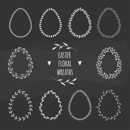 vector floral wreaths in shape of eggs for Easter designs