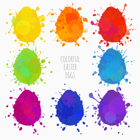 set of colorful Easter eggs with paint splatters vector illustration Illustration