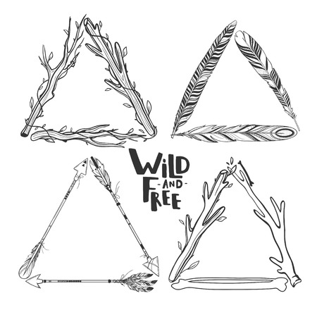 quills: Set of vector boho triangle frames isolated on white with feathers, arrows, sticks.