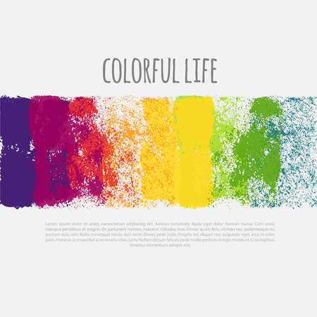 holi: Vector horizontal banner with colorful spray paint splatters. Rainbow banner, vector illustration.