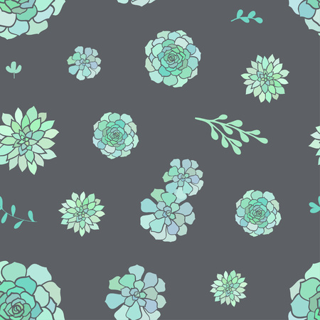 Vector seamless pattern with succulents on grey background. Cute spring background.