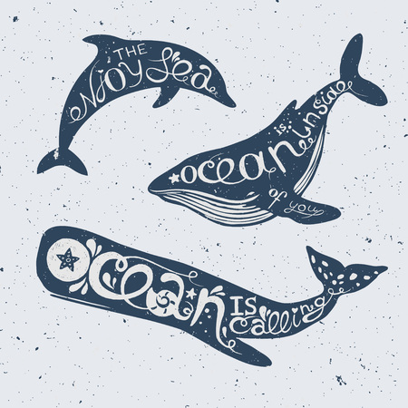 oceanic: Set of marine animals with lettering dolphin, cachalot and orca with hand drawn lettering, vector nautical illustration Illustration