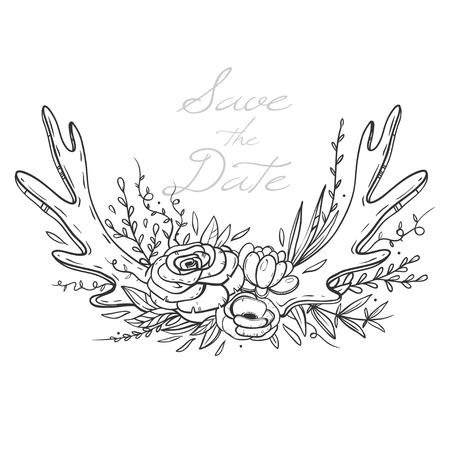 手描き花花束や鹿の角を持つウェディング カードのテンプレートです。バラ、アネモネ、多肉植物と花の組成物。ベクトル図は、白で隔離。