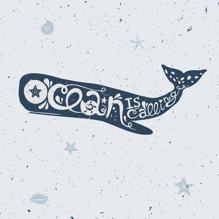 クジラのレタリングをベクトル、ベクトル文字カシャロ クジラのイラスト  イラスト・ベクター素材