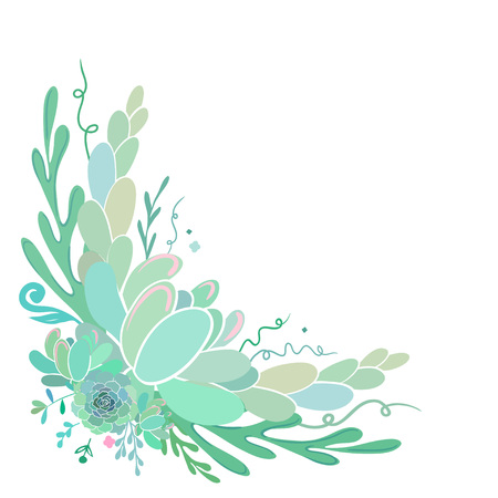 多肉植物白で隔離と美しい花の角フレーム。ベクトル ボタニカル イラスト。