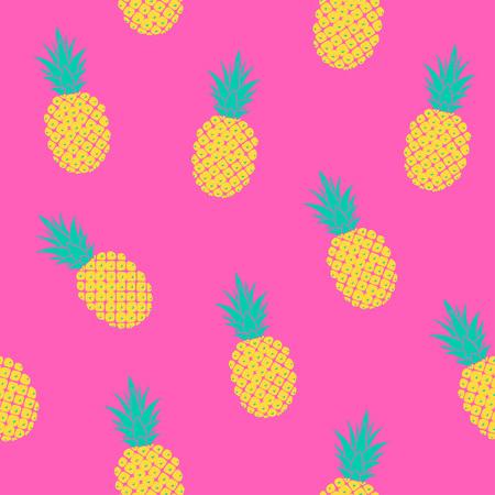 明るい夏のパターン、ピンクの背景にパイナップルとシームレスなパターン ベクトル