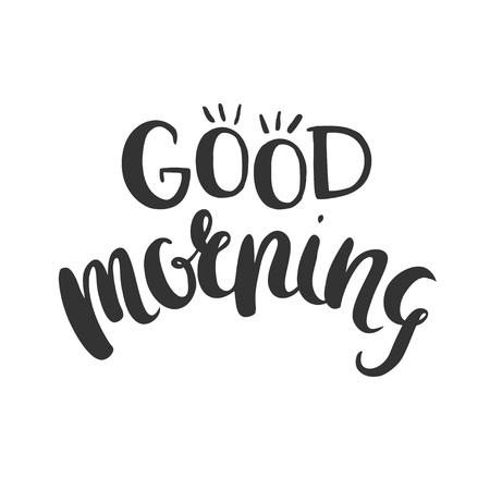 おはようございます。手には、白で隔離ベクトル文字が描画されます。  イラスト・ベクター素材