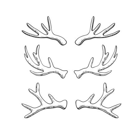 手描き鹿角白で隔離のセットです。素朴なスタイルのベクトル図です。