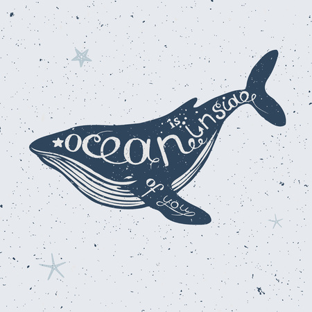 クジラ、手描きのレタリング、ベクトル クジラ シルエット航海図のベクトル図  イラスト・ベクター素材