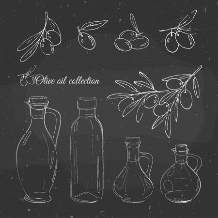 オリーブ オイルは、黒板に手書きを設定します。ベクター スケッチとオリーブとオリーブ オイルのボトル。