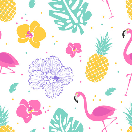 Bright tropical pattern with flamingos, flowers, palm leaves and pineapples. Vector seamless summer pattern.