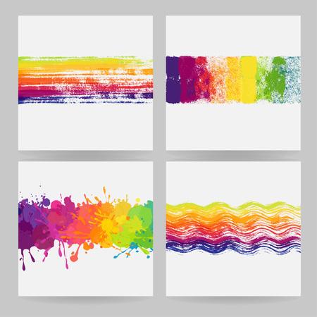 塗料の汚れと飛び散っ 4 つのカラフルな水平方向のバナーの設定 写真素材