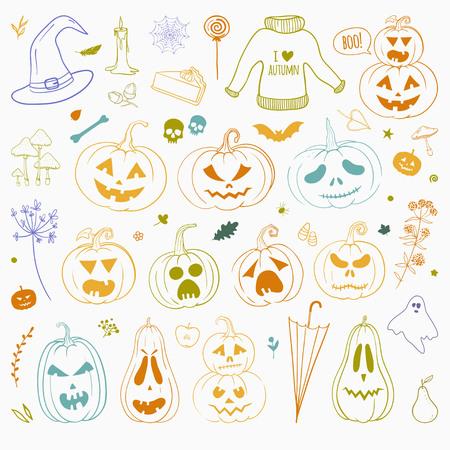 Set of colorful carved pumpkins for Halloween Illustration