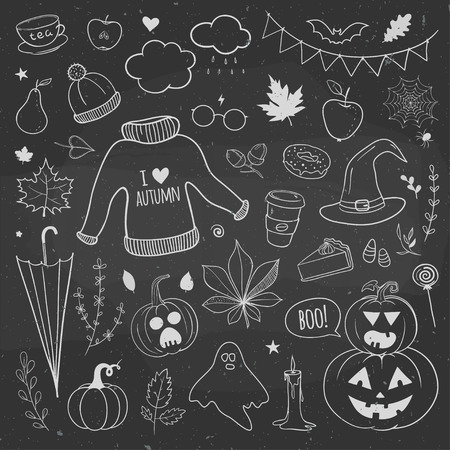 黒板に落書きの秋セット