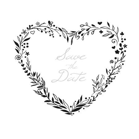 ロマンチックな花柄のハートのフレーム  イラスト・ベクター素材