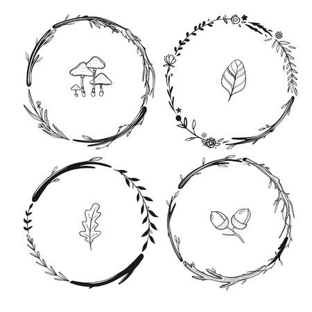 花と葉秋の花輪
