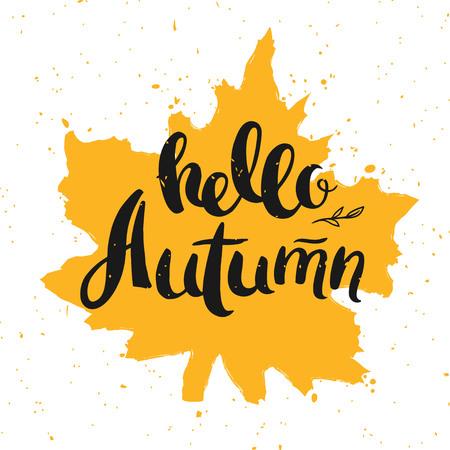 こんにちは、秋のグリーティング カード ベクトル図。