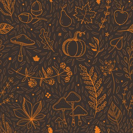 オレンジと茶色の秋パターン