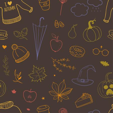 秋の落書きをパターン  イラスト・ベクター素材