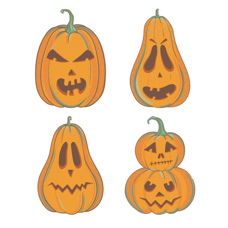 Funny Halloween Pumpkin, Vector Illustration With Carved Halloween ...