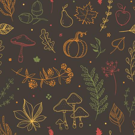 秋の収穫とベクトルシームレスパターン