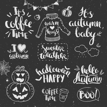 秋の落書きは黒板に立ててある。  イラスト・ベクター素材