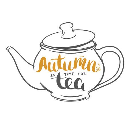 秋のお茶のレタリング。