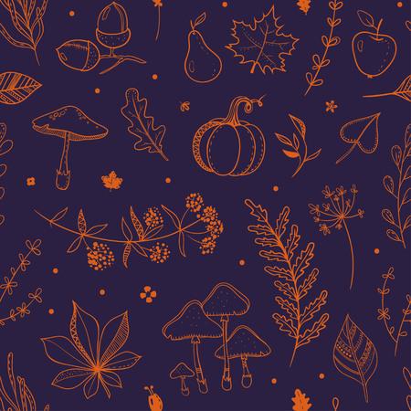 濃い青とオレンジ秋パターン。  イラスト・ベクター素材