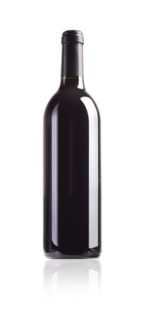 semisweet: bottle of red wine with paths on white background