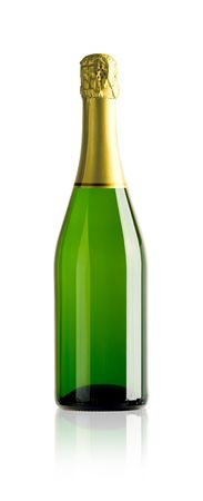 semisweet: bottle of champagne with paths on white background Stock Photo