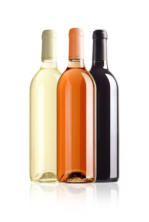 semisweet: three bottles of wine with paths on white background