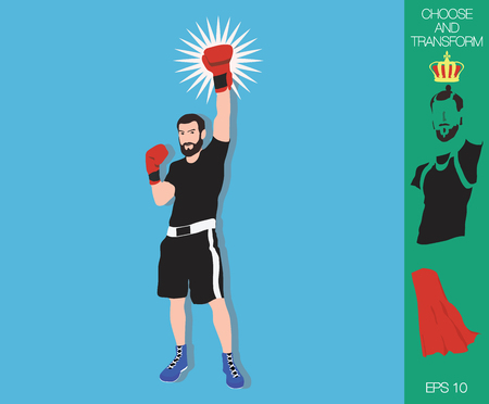 Flat design. Vector winner with beard in fight sport celebrate a win, isolated on background. Fighter winner silhouette. Choose to transform.