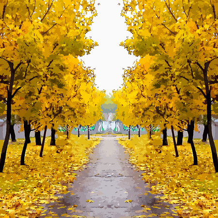 vector illustration picturesque road in autumn. The symmetrical image.