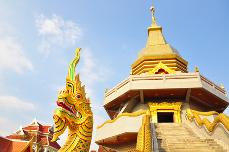stair well: Naka statue in front of Thai Buddhist pagoda, Udonthani province, thailand