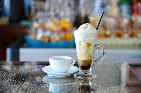 hot coffees: Fresh hot Coffee And Whipping Cream in Glass