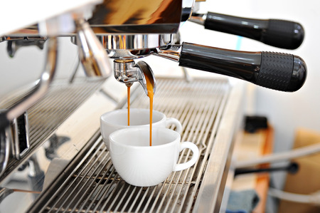 coffee machine makes two cup hot coffee Stock Photo