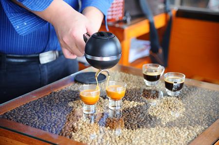 espresso machine: Mobile Espresso Machine in hand barista.