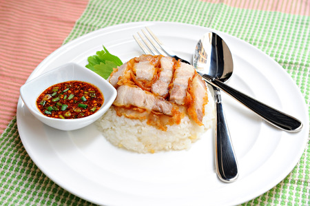 Rice crispy pork with chilli sauce photo