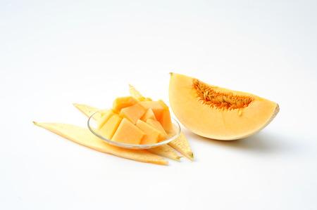 Cantaloupe Melons on White Background