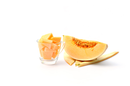 Cantaloupe Melons on white background Stock Photo