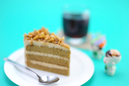 coffee cake: Blur Style of Coffee Cake with pomegranate juice in glass