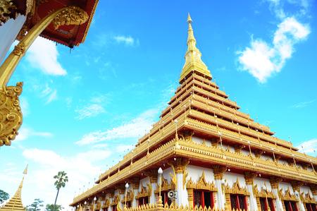 stair well: Golden pagoda at Wat Nong Wang temple, Khonkaen Thailand