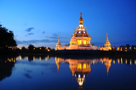 stair well: light twilight over thai buddhist pagoda (khonkaen province, thailand) Stock Photo