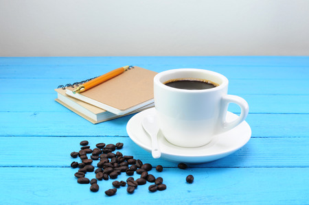hot coffee and book Stock Photo