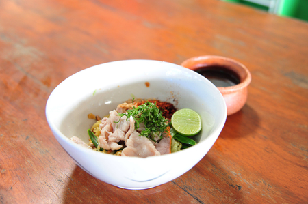 noodle and Boiled pork dip served with sliced (Style Still Life) Stock Photo